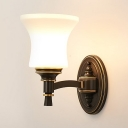 Vintage Style Curved Wall Sconce 1/2 Lights Frosted Glass Sconce Light in White for Bathroom