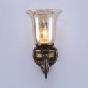 Antique Style Bell Wall Lamp 1/2 Lights Clear Glass Sconce Light for Hallway Dining Room