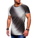 Men's New Style Ombre Print Round Neck Short Sleeve T-Shirt