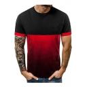 Men's Summer Unique Color Block Ombre Print Round Neck Short Sleeve Running T-Shirt