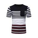 Summer Fashion Stripe Print Pocket Patched Color Block Short Sleeve Round Neck Fitted T-Shirt For Men