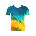 Trendy Blue and Yellow Geometric 3D Printed Short Sleeve T-Shirt