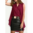 Womens Stylish Unique Stand Collar Sleeveless Button Front High Low Hem Plain Burgundy Shirt Blouse