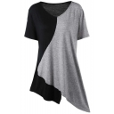 Womens Fashion Color Block V-Neck Short Sleeve Asymmetrical T-Shirt