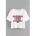 Flag NEW YORK 1991 Round Neck Short Sleeve Summer Cotton Casual T-Shirt