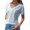 Womens Summer Fancy Striped Printed Short Sleeve V-Neck Casual Loose White Tee