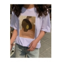 Vintage Aesthetic Abstract Figure Face Printed Short Sleeve Relaxed T-Shirt