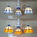 Dome Foyer Semi Flushmount Ceiling Stained Glass 3 Lights Tiffany Style Rustic Light Fixture