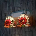 Kitchen Bedroom Flower Wall Light Stained Glass 2 Lights Vintage Style Wall Lamp