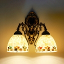 2 Lights Bowl Sconce Light Antique Style Colorful Shell Glass Wall Lamp for Bedroom Bathroom