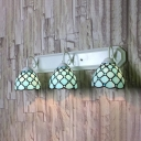 Stair Living Room Beaded Sconce Light Glass 3 Lights Tiffany Style Wall Lamp in Blue