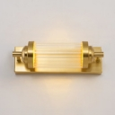 Cylinder Study Room Sconce Light Metal Simple Style Brass Sconce Lamp in White/Warm
