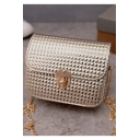 Fashion Solid Color Hasp Square Crossbody Bag with Chain Strap 18*7*15 CM