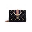 Fashion Rhombus Check Printed Chain Decoration Square Crossbody Bag 19*6*13 CM