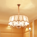 5 Lights Drum Chandelier Traditional Fabric & Metal Hanging Lamp in White for Dining Room