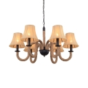 Dining Room Curved Shade Chandelier Metal Rope 6 Lights Rustic Style Beige Hanging Light