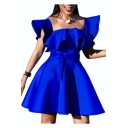 Womens Summer Trendy Plain Blue Square Neck Ruffled Hem Tied Waist Mini A-Line Swing Dress