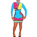 Ladies' Trendy Long Sleeve Round Neck Colorful Patchwork Mesh Mini Bodycon Dress