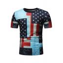 New Trendy Stars Pattern Short Sleeve Round Neck Slim Fit Sport T-Shirt for Men