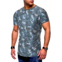Summer Stylish Camouflage Pattern Short Sleeve Round Neck Ripped Casual T-Shirt for Men