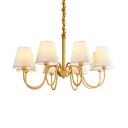 Elegant Style Brass Pendant Lighting with Tapered Shade 8/10 Lights Metal Chandelier for Dining Room
