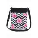 Hot Fashion Flamingo Floral Stripe Printed Black and White Canvas Shoulder Messenger Bag 22.5*27 CM