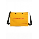 Popular Letter Printed Casual Canvas Bag for Juniors 27.5*0.5*21.5 CM