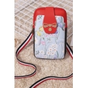 Popular Floral Printed Bow Embellishment Striped Strap Black and Red Crossbody Phone Wallet 10.5*2.5*18.5 CM