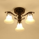 Frosted Glass Bell Shade Light Fixture 3/6/8 Lights Antique Style Semi Flush Ceiling Light in Black for Hotel
