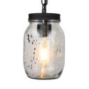 Dining Room Jar Shape Pendant Lighting Clear Glass Industrial Hanging Lighting for Foyer
