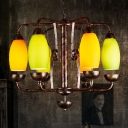 Metal and Glass Curved Chandelier 6 Lights Industrial Hanging Light in Bronze for Living Room