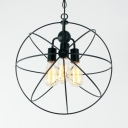 Antique Globe Chandelier Light 3 Lights Metal Hanging Lamp in Black for Living Room