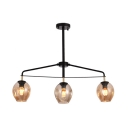 Industrial Black/Gold Island Pendant with Open Glass 3 Lights Light Fixture for Dining Room