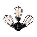 Industrial Semi Flush Mount Lighting with Wire Frame 3 Lights Metal Semi Flush Light for Dining Room