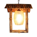 Rustic Style Ceiling Pendant Light with Rectangle Shape Single Light Wood Ceiling Light for Hallway