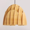 Vintage Style Dome Shade Ceiling Light Fixture 1 Light Wood Hanging Lamp in Beige
