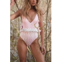 Womens New Fashion Stripe Floral Printed Ruffled Hem Bow-Tied Plunged Neck Backless Pink One Piece Swimsuit