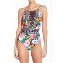 Womens New Trendy Floral Printed Mesh Panel Open Back One Piece Swimsuit Swimwear
