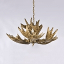 Vintage Style Deer Horn Chandelier 5 Lights Resin Hanging Light Fixture for Dining Room Foyer