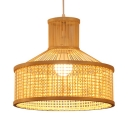 Antique Style LED Pendant Lighting Drum Shape Single Light Rattan Ceiling Lamp for Dinning Room