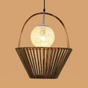 Bedroom Basket/Roof Shape Pendant Lighting Fixture Bamboo Handmade Vintage Ceiling Light in Brown