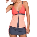 Summer Beach Fashion Color Block Skort Bottom Tankini Swimwear