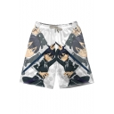Comic Anime Figure Printed Men's White Holiday Beach Swim Trunks