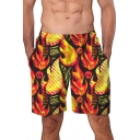 Mens Cool Fire Skull Pattern Summer Loose Casual Yellow Swim Trunks