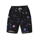 Fashion Black Galaxy Universe Planet Print Drawstring Waist Beach Swim Trunks