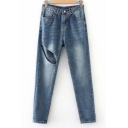 Vintage Blue Cutout Solid Color Womens Summer Regular Fit Jeans