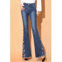 Women's Trendy Chic Floral Embroidery Fringed Hem Slim Fit Flare Jeans