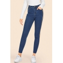 Womens Fashion Striped Tape Side Slim Fit Cropped Jeans