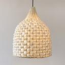 Bamboo Bell Shape Pendant Lighting Single Light Vintage Style Hanging Light in White for Bedroom