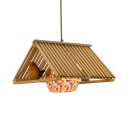 Beige Pendant Light with Bird Decoration 1/2/3 Lights Vintage Rattan and Glass Chandelier for Living Room